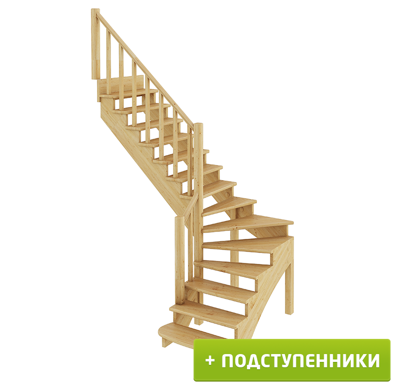 Лестница   К-001м/2 Л c подступенками сосна (7уп)